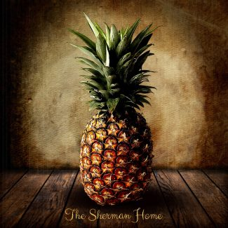 Pineapple on Wood Table Vintage Background