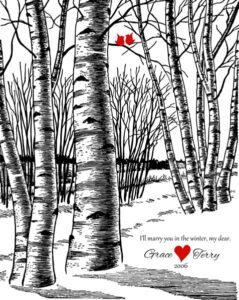 10th Wedding Anniversary Gift for Couple Bare Winter Birch Trees Love Birds White Wedding Tree – Personalized for Terry