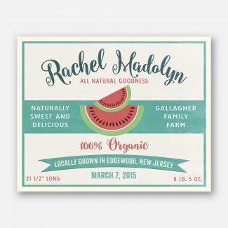 Sweet Delicious Watermelon Custom Fruit Crate Label Style Organic Nursery Layette  #ABP-1002