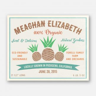 Pineapple Natural Goodness Custom Fruit Crate Label Style Organic Nursery Layette  #ABP-1005