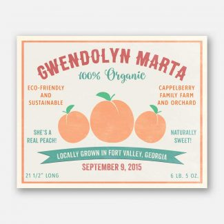 She's A Real Peach Custom Fruit Crate Label Style Organic Nursery Layette  #ABP-1009
