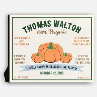 Pumpkin Harvest Thanksgiving Custom Crate Label
