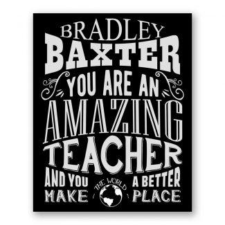 Teacher Amazing Custom Plaque Tin Sign Gift For Professor Instructor Tutor Helper Typography Personalized Metal Art Print #1156