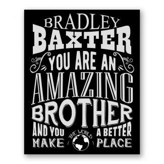 Brother Amazing Custom Plaque Tin Sign Gift From Sister or Brother In Law Gift From Mother Typography Personalized Metal Art Print #1187