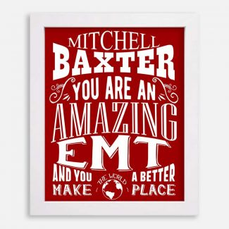 EMT Amazing Custom Gift Emergency Medical Technician Paramedic Ambulance 911 Typography Personalized #1203
