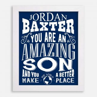 Son Amazing Custom Gift From Mother Father Motivational Print From Mom Dad Typography Personalized #1251