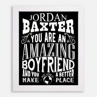 Boyfriend Amazing Custom Gift for Men Boyfriend Anniversary Birthday Valentine Typography Personalized #1270
