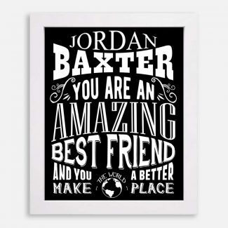 Best Friend Amazing Custom Gift For Women Friendship Sister Bridesmaid Gift Typography Personalized #1278