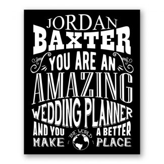 Wedding Planner Amazing Custom Plaque Tin Sign Thank You Gift for Wedding Planner After Married Typography Personalized Metal Art Print 1311