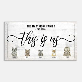 This Is Us Family Names and Animals Farmhouse Wall Decor Custom #LT-1004