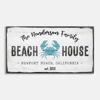 Family Beach House Blue Crab Custom