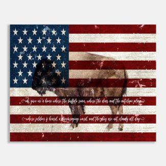 American Flag Buffalo Rustic Wall Decor