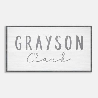 Gray and White Nursery Name Sign