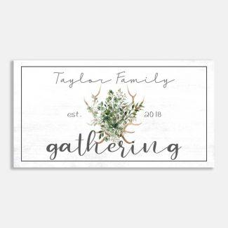 Family Gathering Anglers Greenery Custom Sign #LT-1011