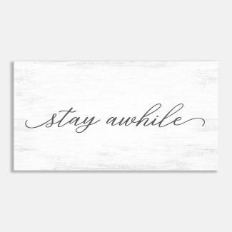 Stay Awhile Typography Gray and White