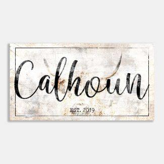 Custom Family Name Highland Cow Farmhouse Rustic Sign #LT-1031