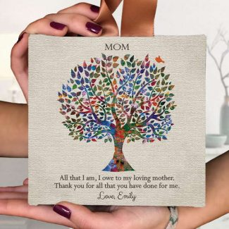 Mothers Day Gift, Gift For Mother, Personalized Gift, Hanging Canvas Ornament, Mother Daughter Gift, Thank You Gift, Recognition Gift, 5×5, #113