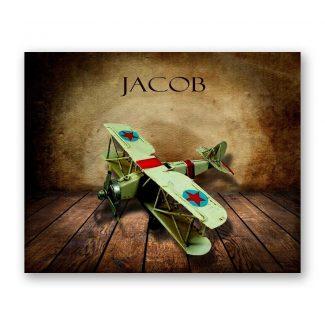 Green Airplane on Wood Table Vintage