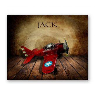 Red Airplane on Wood Table Vintage