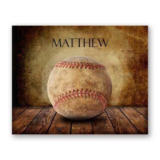 Baseball on Wood Table Vintage Background