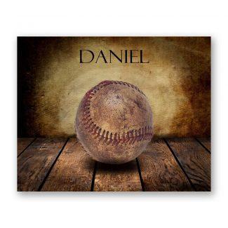 Baseball Vintage Warmth on Wood Table