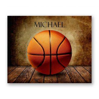 Basketball on Wood Table Vintage Background