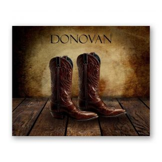 Cowboy Boots on Wood Table Vintage