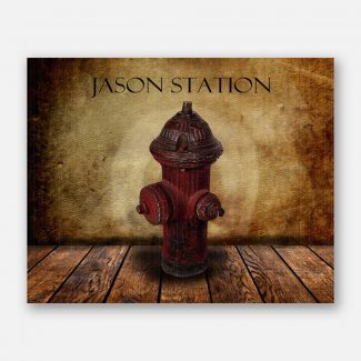 Fire Hydrant on Wood Table Vintage