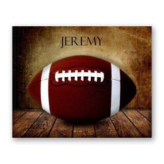 Football on Wood Table Vintage Background
