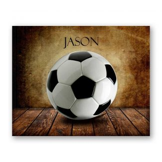 Soccer Ball on Wood Table Vintage