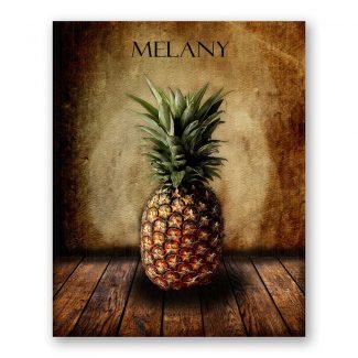 Pineapple on Wood Table Vintage Background