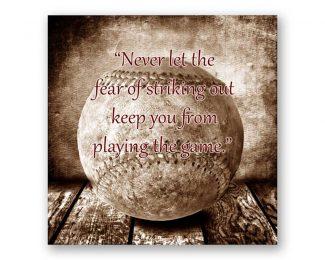 Baseball on Wood Table Never Let