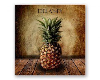 Pineapple on Wood Table Square Vintage