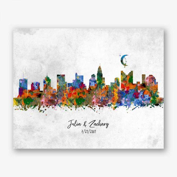 Watercolor Splatter Skyline Art Print #AB-1002