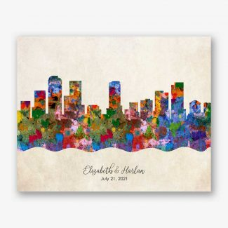 Watercolor Skyline Vintage Art Print #AB-1003