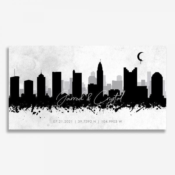 Ink Splatter Skyline Wide Art Print #AB-1601