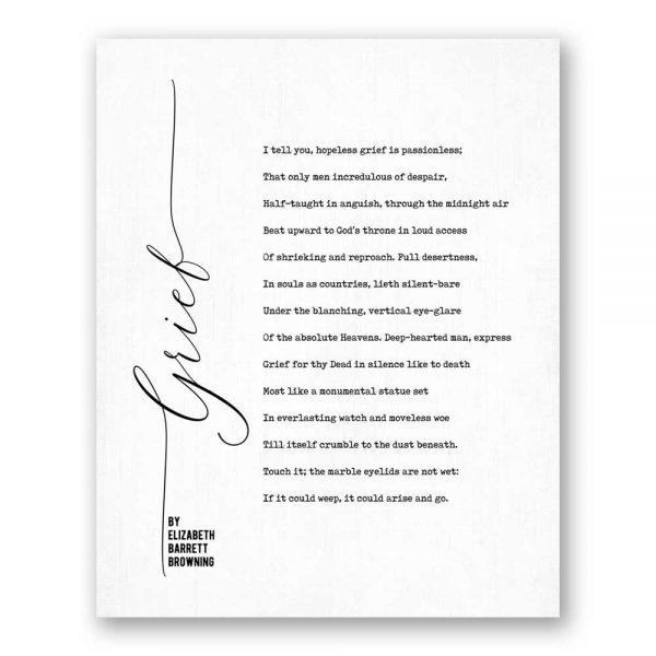 Grief - Poetry by Elizabeth Barrett Browning canvas art print