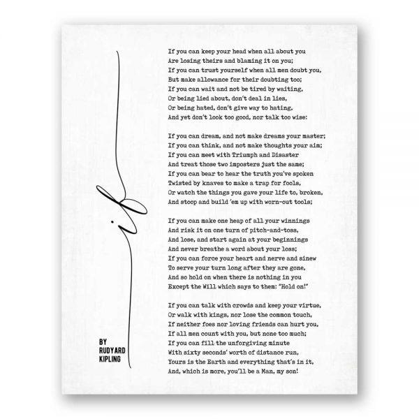 If - Poetry by Rudyard Kipling canvas art print