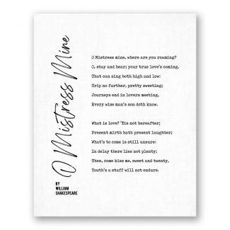 O Mistress Mine by William Shakespeare