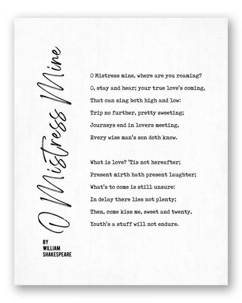 O Mistress Mine Poetry by William Shakespeare