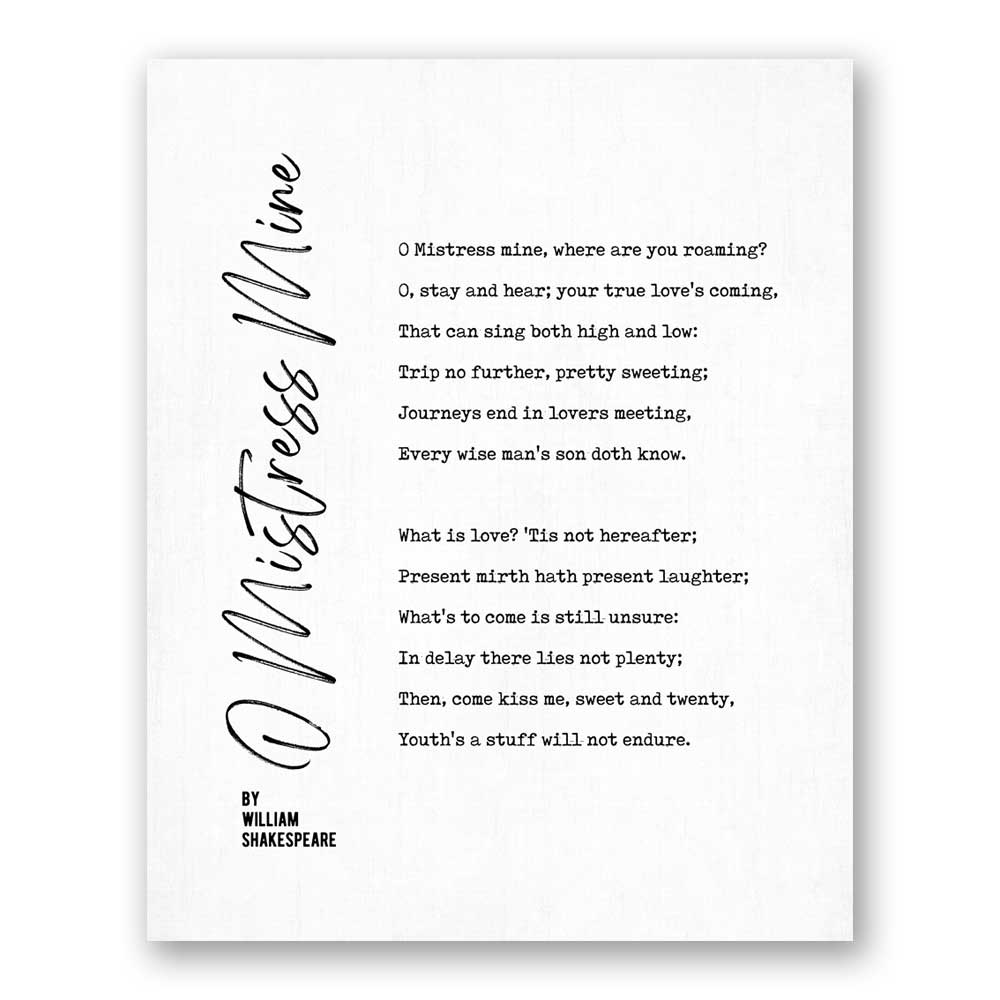 You are currently viewing O Mistress Mine Poetry by William Shakespeare